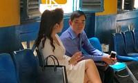 Bà Lê Hoàng Diệp Thảo trong lần tới tòa giải quyết vụ ly hôn. Ảnh: Tân Châu