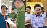 Cựu Phó Chánh án TAND quận 4 Nguyễn Hải Nam (trái) và cựu giảng viên Lâm Hoàng Tùng vào thời điểm khởi tố bị can. Ảnh: Thanh Huyền.