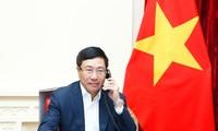 Phó Thủ tướng Phạm Bình Minh tại cuộc điện đàm. (Ảnh: BNG)