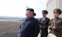 Chủ tịch Triều Tiên Kim Jong Un thị sát một cuộc diễn tập quân sự hôm 16/4 tại địa điểm không được công bố. (Ảnh:KCNA)