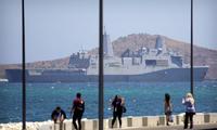 Tàu chiến Mỹ USS Green Bay trong một chuyến thăm Papua New Guinea vào tháng 11 năm ngoái. (Ảnh: AP)
