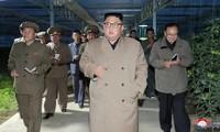 Ông Kim Jong Un đi thăm một nhà kính trồng rau ở Kyongsong. (ảnh: KNCA)