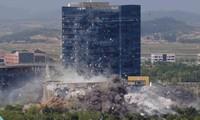 Hình ảnh văn phòng liên lạc chung bị Triều Tiên phá hủy ngày 16/6. (Ảnh: KCNA)
