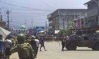 Quân đội Philippines hiện diện ở thị trấn Jolo. (Ảnh: AP)