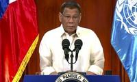 Tổng thống Philippines Duterte trong bài phát biểu ghi hình gửi tới LHQ. (Ảnh: AP)