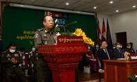Bộ trưởng Quốc phòng Campuchia Sea Banh phát biểu tại cuộc gặp các nhân viên y tế được giao triển khai chương trình tiêm chủng. (Ảnh: Khmer Times)
