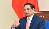 Thủ tướng Phạm Minh Chính tại cuộc điện đàm. (Ảnh: Mofa)