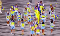 Đoàn Ukraine dự lễ khai mạc Olympic Tokyo 2020. (Ảnh: Reuters)