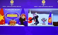 Bộ trưởng Ngoại giao Bùi Thanh Sơn và Bộ trưởng Ngoại giao Nhật Bản Motegi Toshimitsu đồng chủ trì Hội nghị trực tuyến Bộ trưởng Ngoại giao ASEAN - Nhật Bản ngày 3/8. (Ảnh: Mofa)