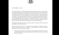 Hình ảnh công hàm của New Zealand gửi lên Liên Hợp quốc