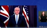 Thủ tướng Úc Scott Morrison trong cuộc họp trực tuyến công bố cơ chế đối tác mới