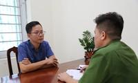 Phó ban Tuyên giáo huyện ủy Tam Đảo bị khởi tố. Ảnh Công an Vĩnh Phúc