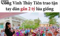 Quyên góp được 15 tỷ, Thuỷ Tiên trích 2 tỷ mua lúa giống cho bà con nông dân