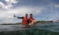 Hành động ngồi lên san hô của Quang Vinh và Phạm Quỳnh Anh bị cho là thiếu hiểu biết.