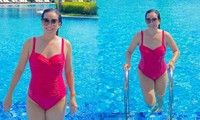 Bà xã Bình Minh tung ảnh bikini khoe vóc dáng đẫy đà