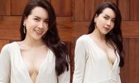 Lưu Hương Giang diện váy xẻ sâu khoe vòng 1 'phồn thực'