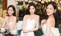 Hoa hậu Đỗ Thị Hà diện váy cúp ngực khoe vai trần nuột nà