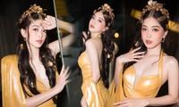 Á hậu Phương Nga diện đầm vàng hóa nữ thần kiêu sa