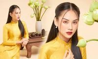 Người đẹp Nhân ái Huỳnh Nguyễn Mai Phương mặc áo dài chụp ảnh bên hoa sen đẹp như tranh