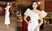 Hoa hậu Đỗ Thị Hà khoe nhan sắc yêu kiều với váy lệch vai lạ mắt