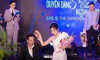 NSND Hoàng Dũng và Hoa hậu Đỗ Mỹ Linh trong cuộc thi Duyên dáng Ngoại thương khi cả hai được mời làm giám khảo.