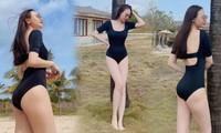 Đàm Thu Trang tung ảnh áo tắm sau 7 tháng sinh con, nuột nà tới khó tin