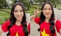 Hoa hậu Đỗ Thị Hà mặc áo cờ đỏ sao vàng, biểu cảm cực dễ thương