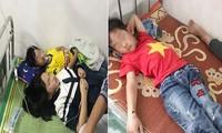 Hàng chục em học sinh bị ong đốt phải đi cấp cứu tại bệnh viện và trạm y tế. Ảnh: mạng xã hội.