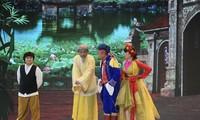 Những nhân vật quen thuộc trong tác phẩm văn học, sân khấu kể chuyện Làng Vũ Đại. Ảnh: VFC