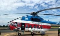 Máy bay trực thăng vận chuyển đề thi ra đảo ở Bà Rịa - Vũng Tàu.