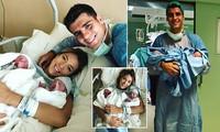 Chân sút Tây Ban Nha Morata đón hai con trai sinh đôi đầu lòng