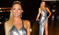 Paris Hilton mặc váy xẻ cao hớ hênh tới dự tiệc của Kim 'siêu vòng ba'