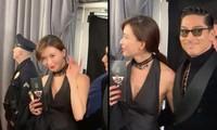 Lâm Chí Linh mặc áo xẻ ngực gợi cảm cùng chồng trẻ dự Grammy
