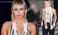 Miley Cyrus lộ ngực vì mặc kiệm vải