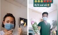 Châu Bùi được tặng hoa 8/3, biết ơn vì được cách ly ngay khi xuống sân bay