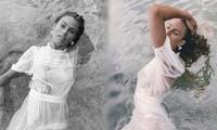 Người đẹp Úc mặc váy xuyên thấu mỏng tang lộ 'vòng 1'