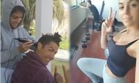 Sau màn cắt tóc gây 'bão mạng', Ronaldo cùng bạn gái tập gym ở nhà