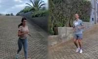 Rủ nhau chạy bộ, Ronaldo khen người yêu là 'bạn tập xinh đẹp'