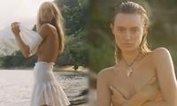 'Chân dài' Maya Stepper bán nude quyến rũ trước biển