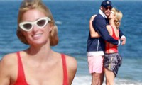 Cô nàng thừa kế Paris Hilton tình tứ bên bạn trai ở biển Malibu