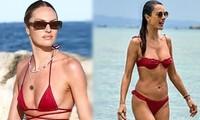 Hai thiên thần nội y đắt giá cùng diện bikini đỏ nổi bật trên biển
