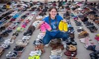 Cô bé tuổi teen thu gom hàng chục ngàn đôi giày tặng người vô gia cư