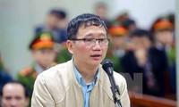 Trịnh Xuân Thanh bật khóc khi nói lời sau cùng tại tòa. Ảnh: TTXVN.