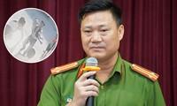 Ông Trần Văn Hoá - Phó trưởng Công an quận Cầu Giấy trong buổi họp báo sáng 7/8 và hình ảnh nạn nhân (cắt từ camera) khi vừa được phát hiện tại trường Gateway