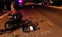 Hiện trường vụ tai nạn do bọn côn đồ gây ra, khiến một cán bộ công an huyện Đất Đỏ tử vong