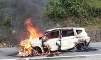 Chiếc Mitsubishi Xpander cháy trơ khung vào sáng ngày 6/2 tại tỉnh Quảng Nam.