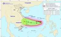 Dự báo đường đi và vùng đổ bộ của bão số 6, theo Trung tâm Dự báo Khí tượng Thủy văn Quốc gia.