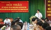 Chủ tịch UBND thành phố Hà Nội Nguyễn Đức Chung phát biểu tại hội thảo