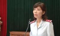 Bà Nguyễn Thị Kim Anh trong ngày công bố quyết định thanh tra tại huyện Vĩnh Tường vào tháng 4. Ảnh: UBND huyện Vĩnh Tường