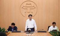 Chủ tịch UBND thành phố Hà Nội Nguyễn Đức Chung phát biểu tại cuộc họp